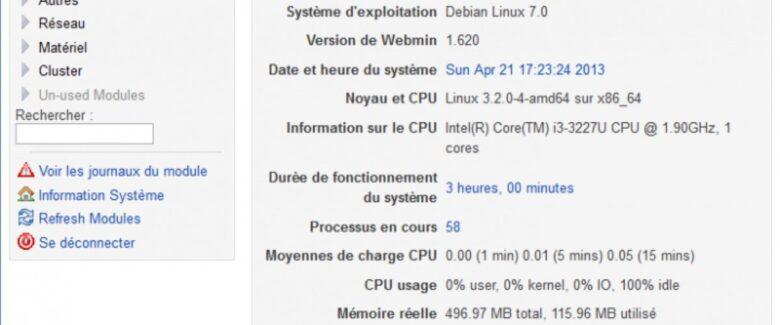 webmin traduit : interface en français