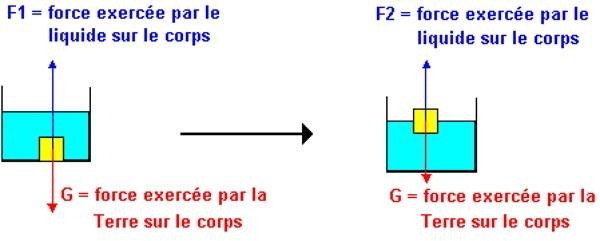 schéma du principe d'Archimède