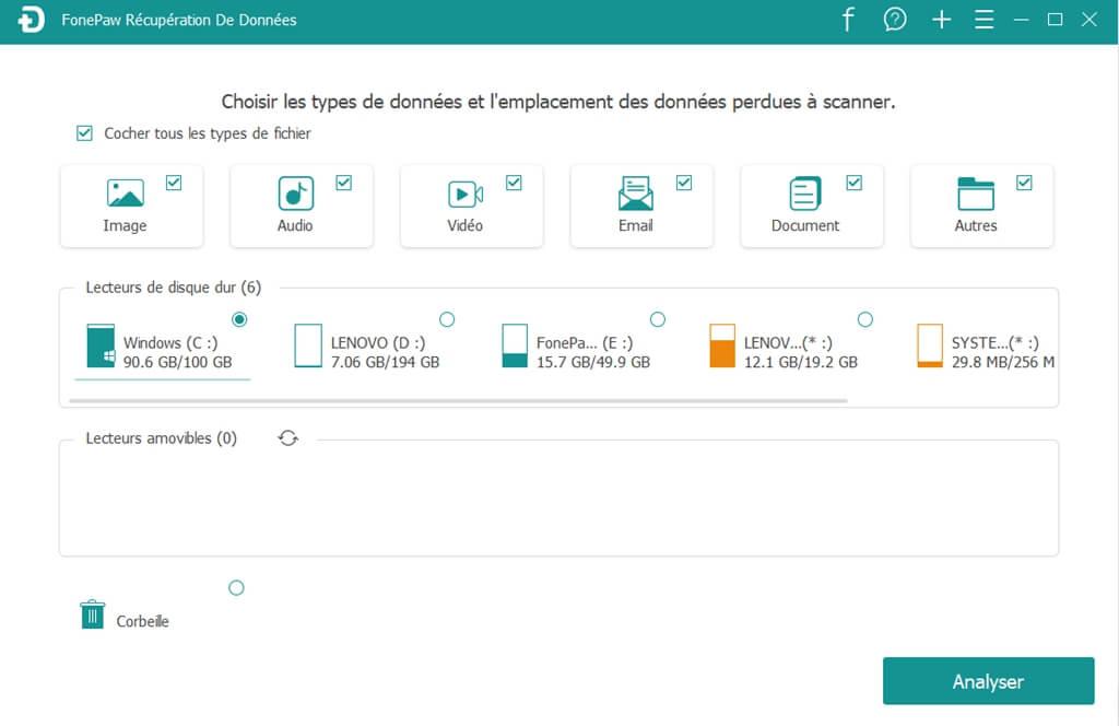 FonePaw récuperation de donnes : 01 sélectionner les fichiers