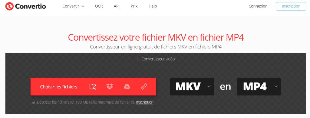 convertio : Convertisseur en ligne gratuit de fichiers MKV en fichiers MP4