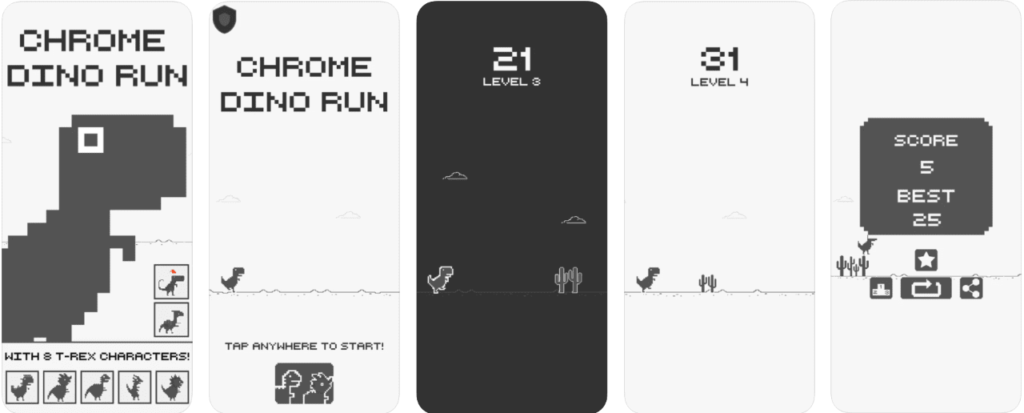 application mobile Chrome Dino T-Rex