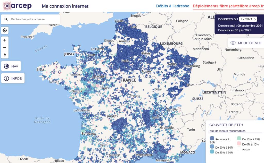 Carte du déploiement de la fibre en France (Source : ARCEP)